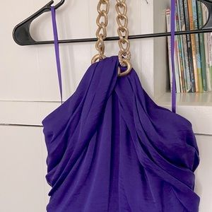 Long purple evening gown
